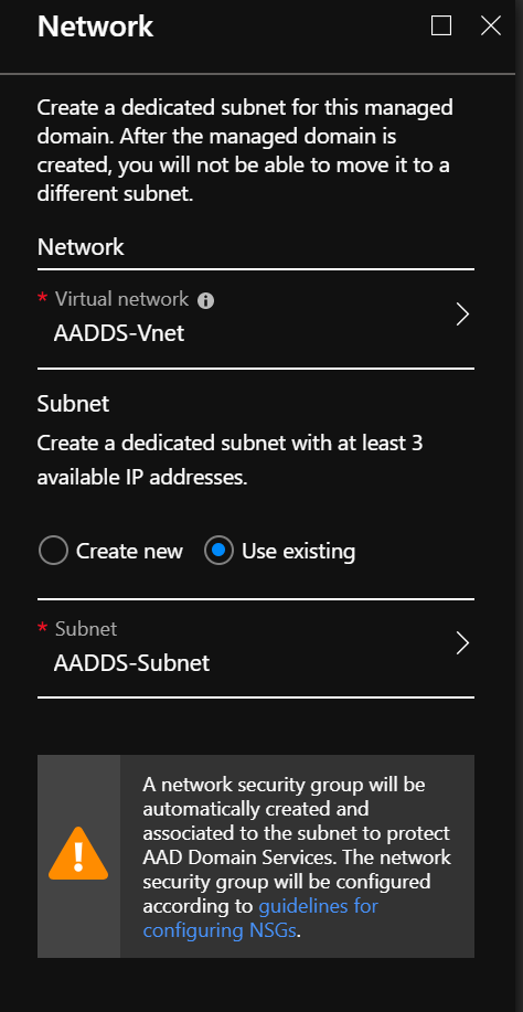 Configure the AADDS network settings
