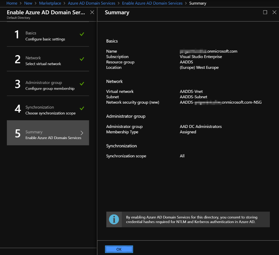 Deploying Azure Active Directory Domain Services (AADDS