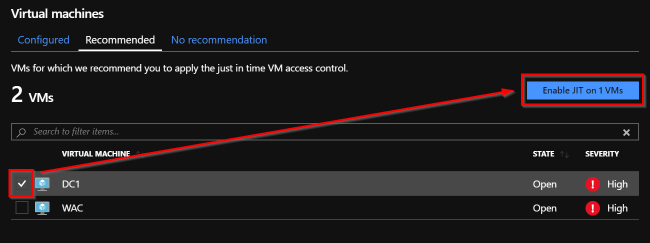 Select the VM for which the Just in Time VM Access must be enabled