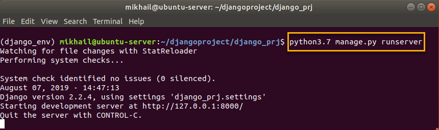 python3.7 manage.py runserver