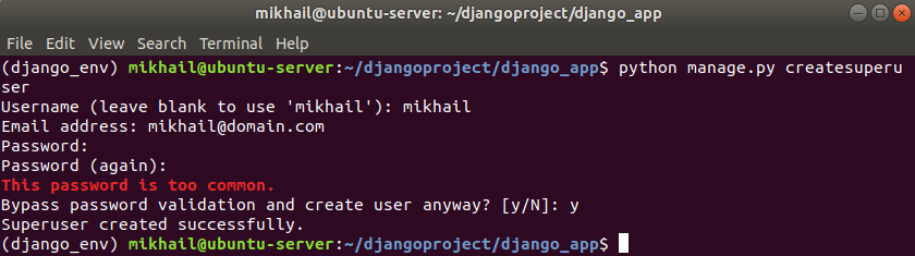 python manage.py createsuperuser