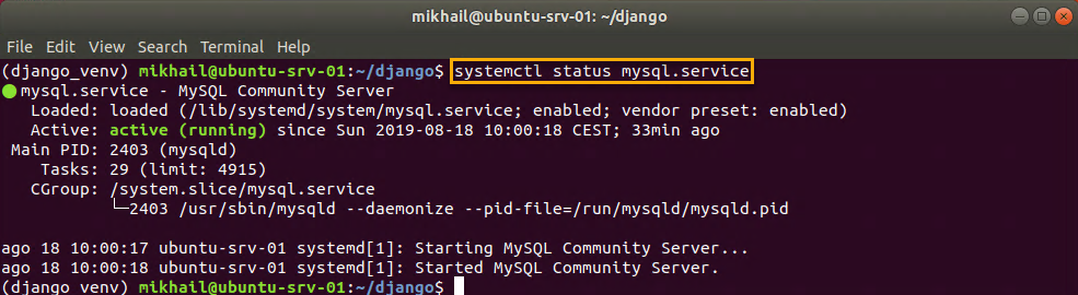 Checking MySQL service status