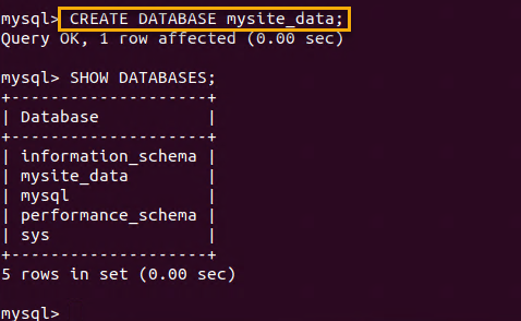 Creating MySQL database