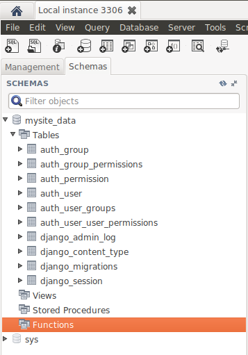 Default Django project tables in MySQL database