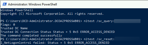 Error, after executing nltest /sc_query:yourdomain.be: