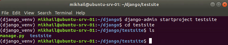Creating Django project and listing project folder contents