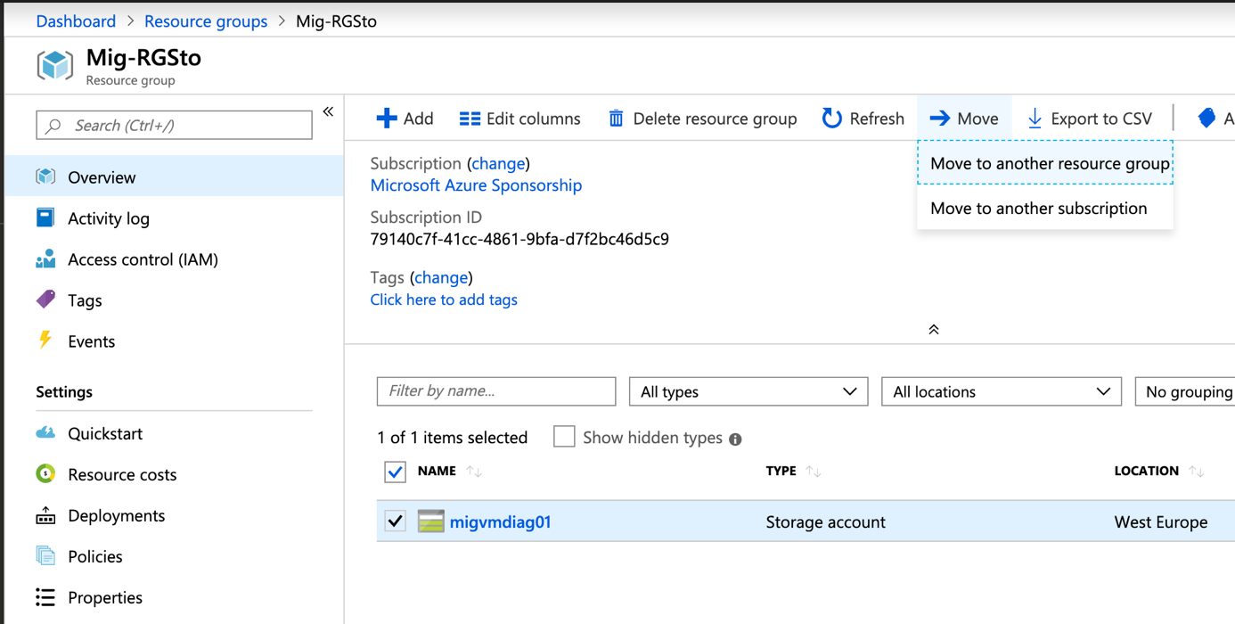 Navigate to the Mig-RGSto resource group to migrate the storage account