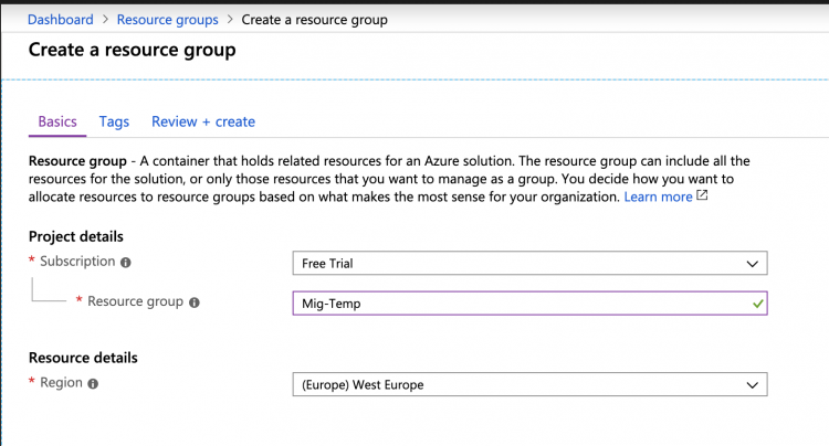 Migrate the resource group to another subscription