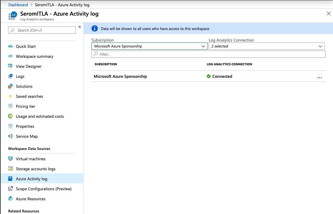 Microsoft Azure - Workspace Data Sources - Azure Activity Log