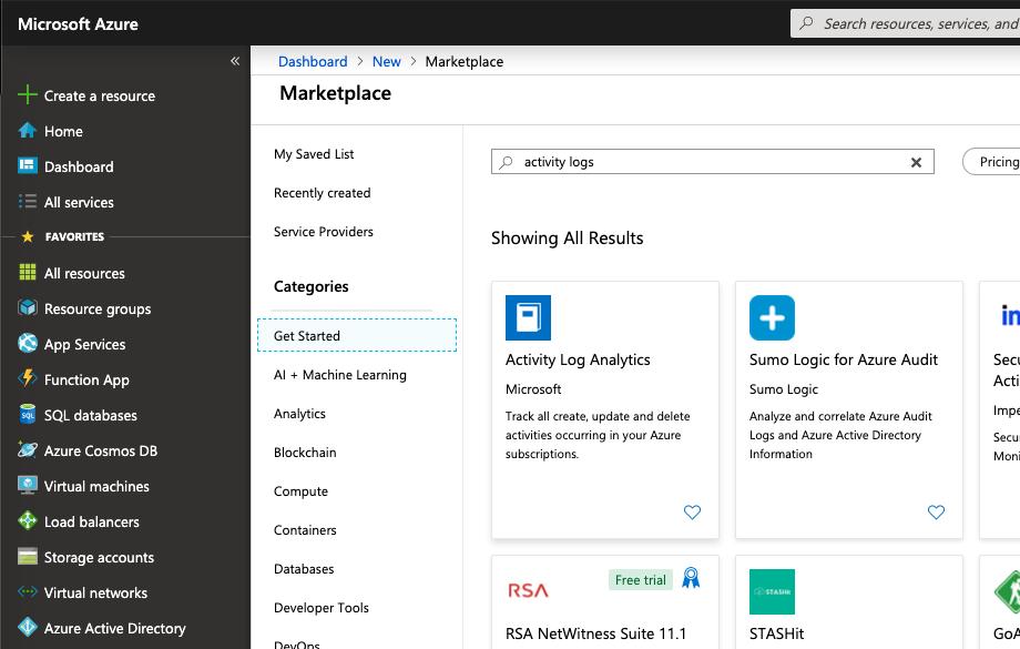 Microsoft Azure - Marketplace - Activity Log Analytics