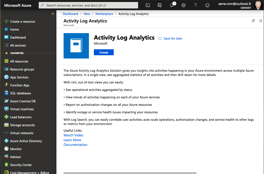 Microsoft Azure - Marketplace - Activity Log Analytics - Create