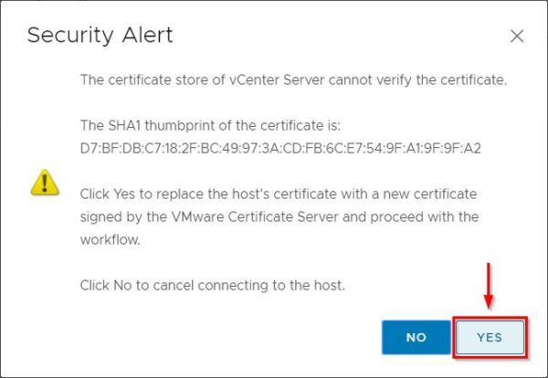 Click Yes to accept the host's certificate
