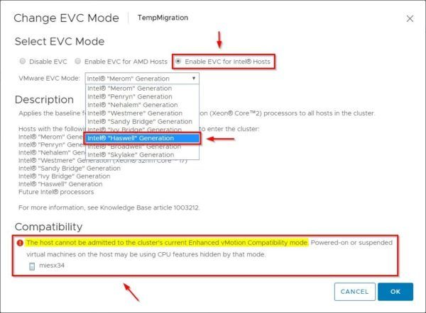 Select Enable EVC for Intel@ Hosts option