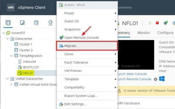 Migrate the VMs to the target cluster