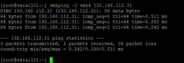 Use the vmkping command