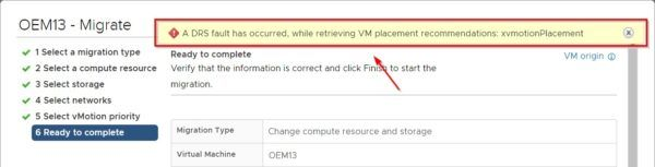 Make sure the processed VM doesn't have any attached ISO or Content Library