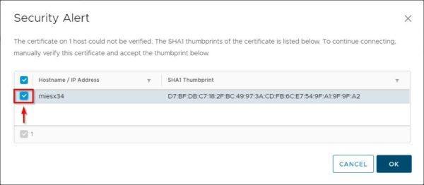 Accept the ESXi's certificate