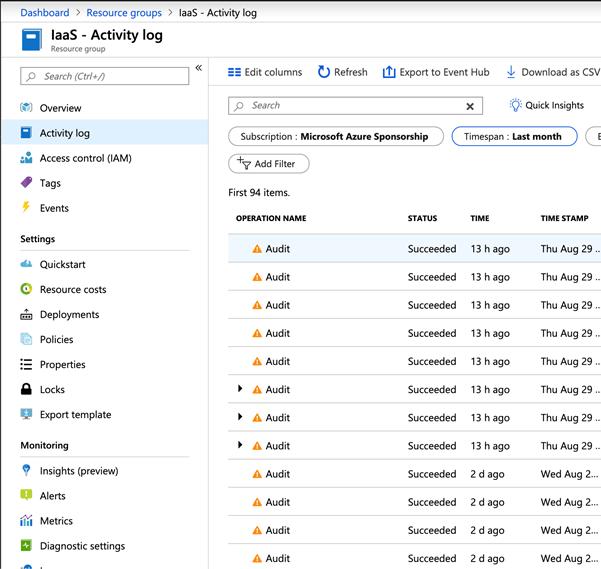 Microsoft Azure - IaaS - Activity log