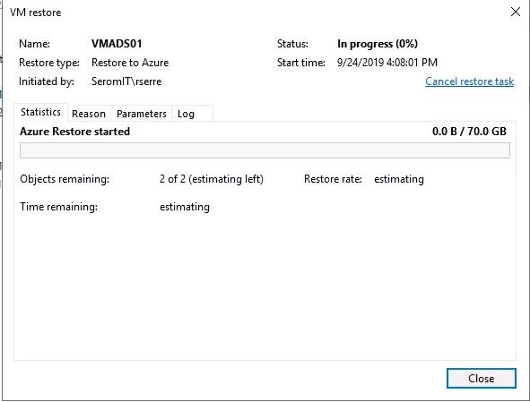 VM restore progress