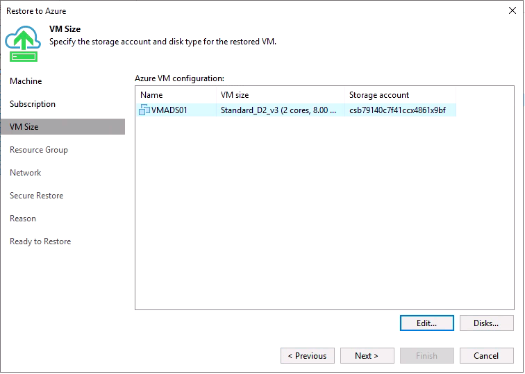 Choose the disks you restore in Azure