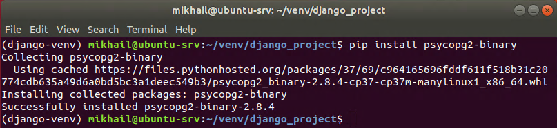 Installing psycopg2-binary package
