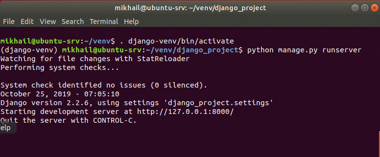 Starting Django server