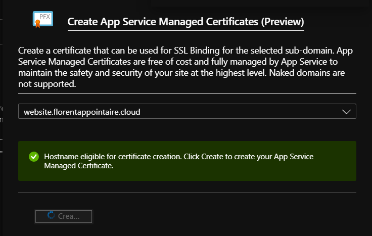App Service Managed Certificate