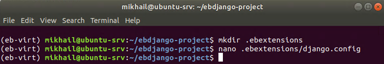 Creating .ebextensions directory and django.config file