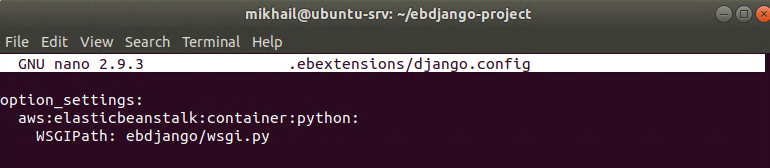 Contents of django.config file