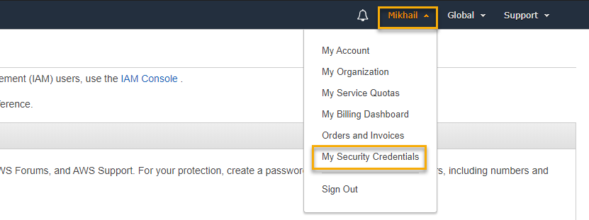 "AWS Console - Accessing ""My Security Credentials"""