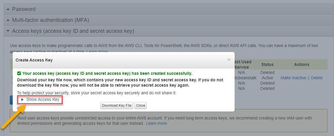 AWS Console – Create Access Key – Show Access Key