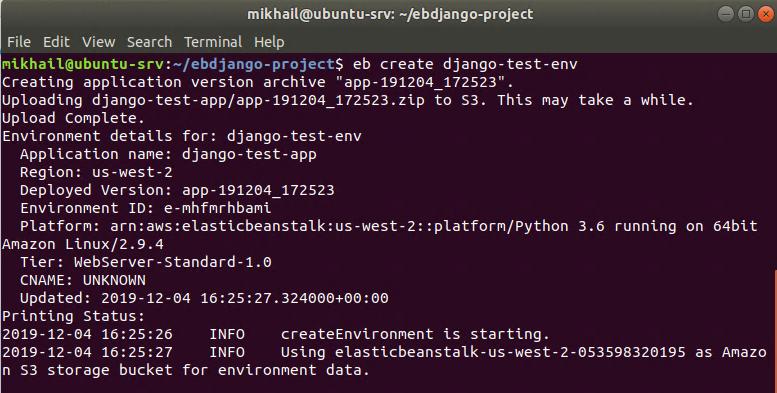 Creating Django environment using eb create command