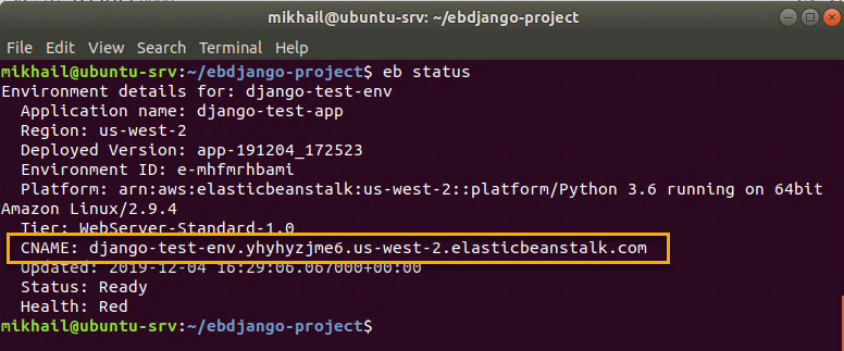 Getting environment CNAME from eb status output