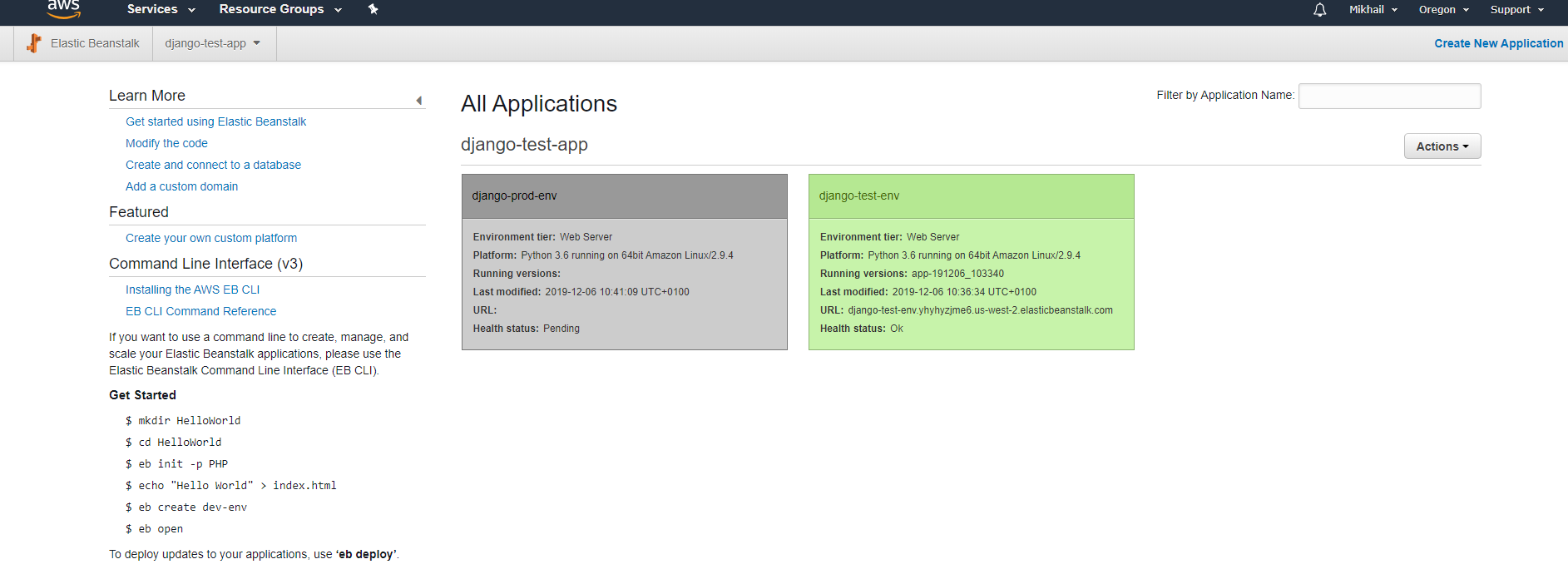 AWS Console Elastic Beanstalk application and environments