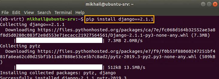 Installing Django within virtual environment