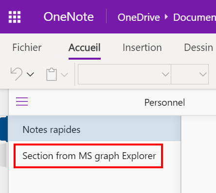Section from MS graph Explorer