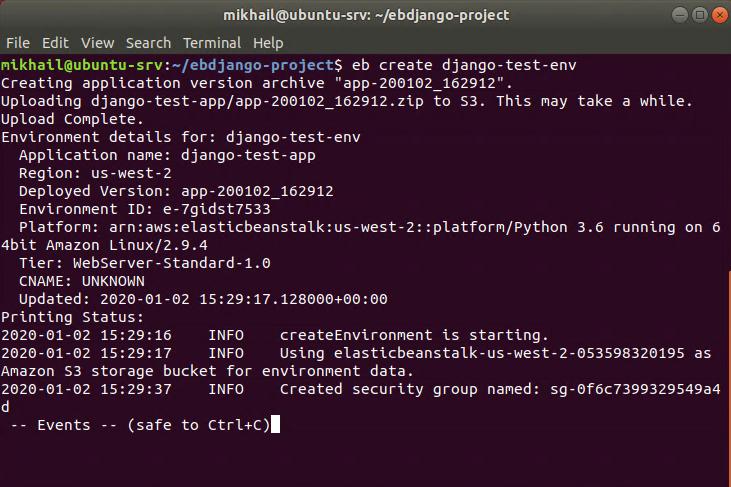 Using eb create command to create Django environment