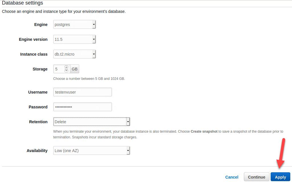 Database setting – Postgres database options configured