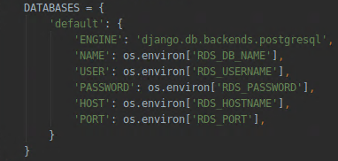 settings.py file – DATABASES configuration for EB environment Postgres database