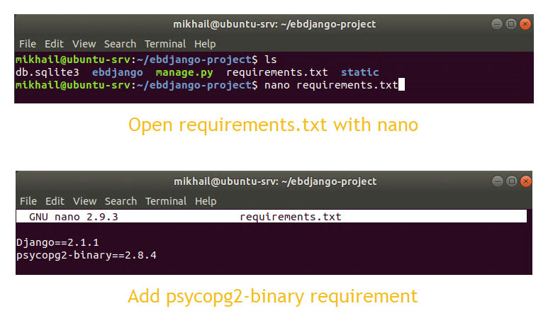 Adding Python-PostgreSQL Database Adapter into Django project's requirements.txt