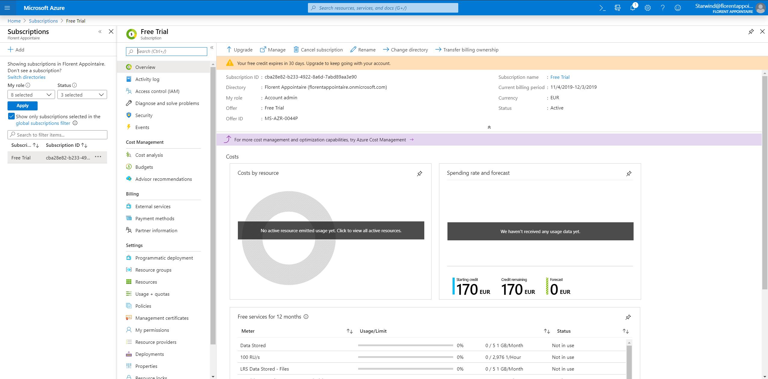 Azure Portal-Subscriptions