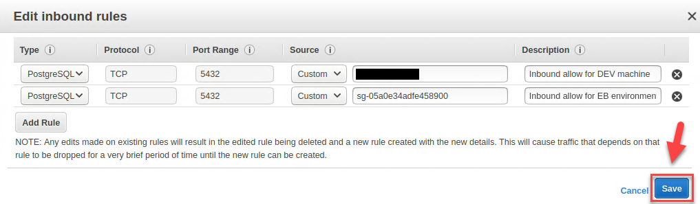 RDS Console – Inbound rules for PostgreSQL database