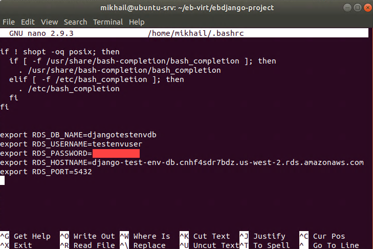 Defining RDS variables in Ubuntu .bashrc file