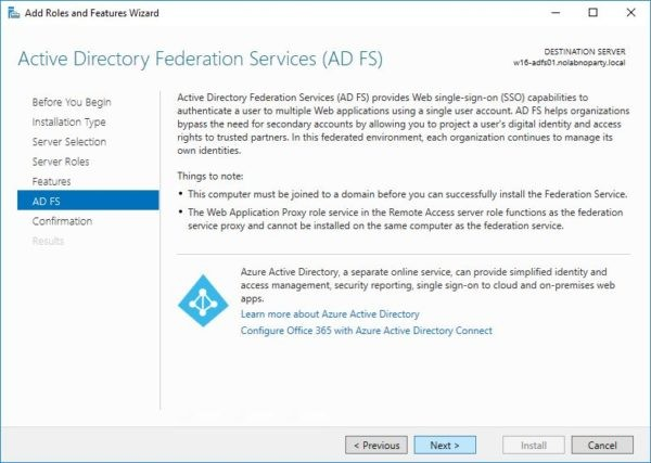 Azure Directory Federtion Services