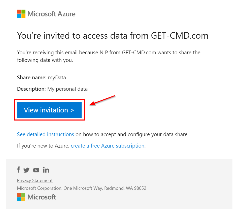 Invitation from Microsoft Azure