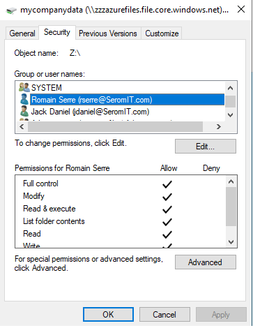 Permissions from the Windows Explorer.