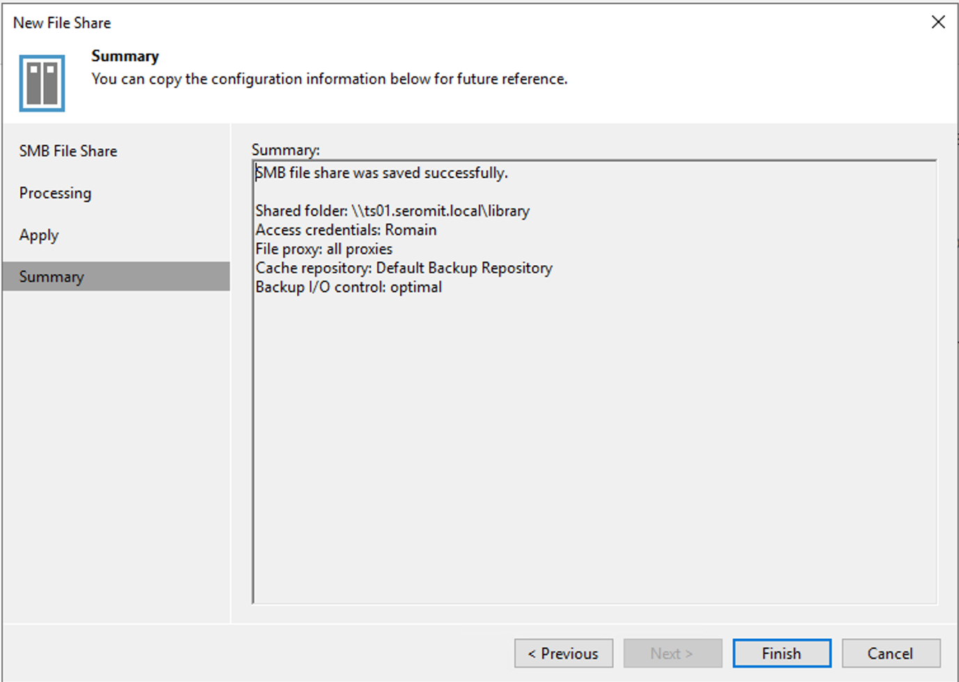 Add the file share in Veeam