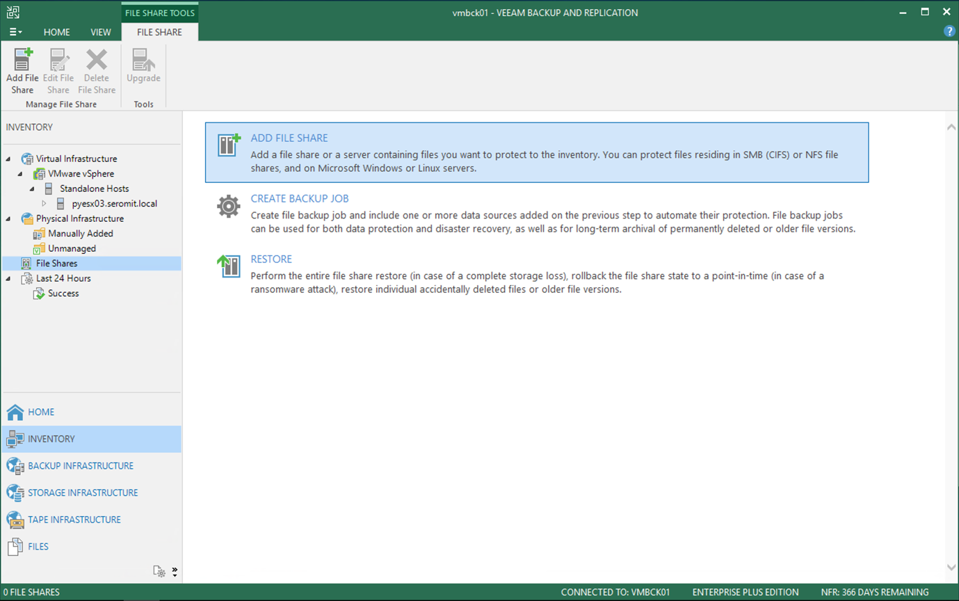 File shares to Veeam