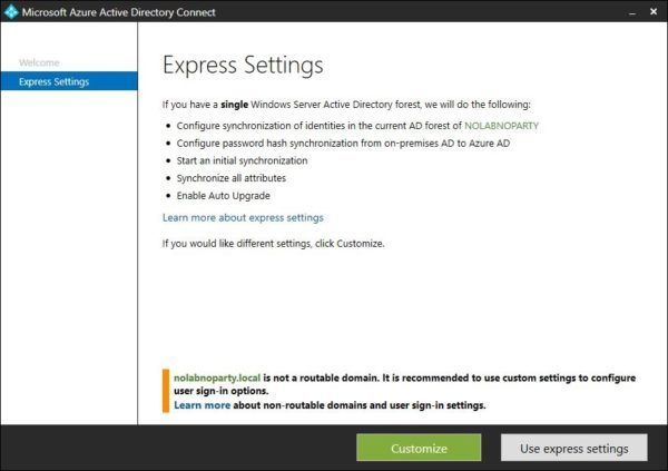 AAD Connect express settings
