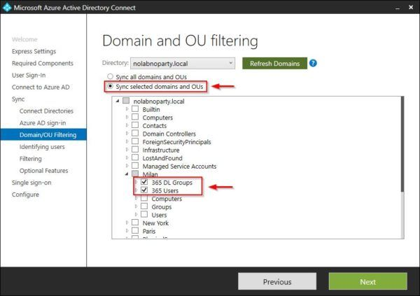 Sync selected domains and OUs option